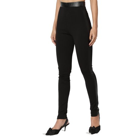TheMogan Junior's Faux Leather Side High Waist Pull On Stretch Ponte Knit Skinny Pants - Mc Hammer Pants For Sale
