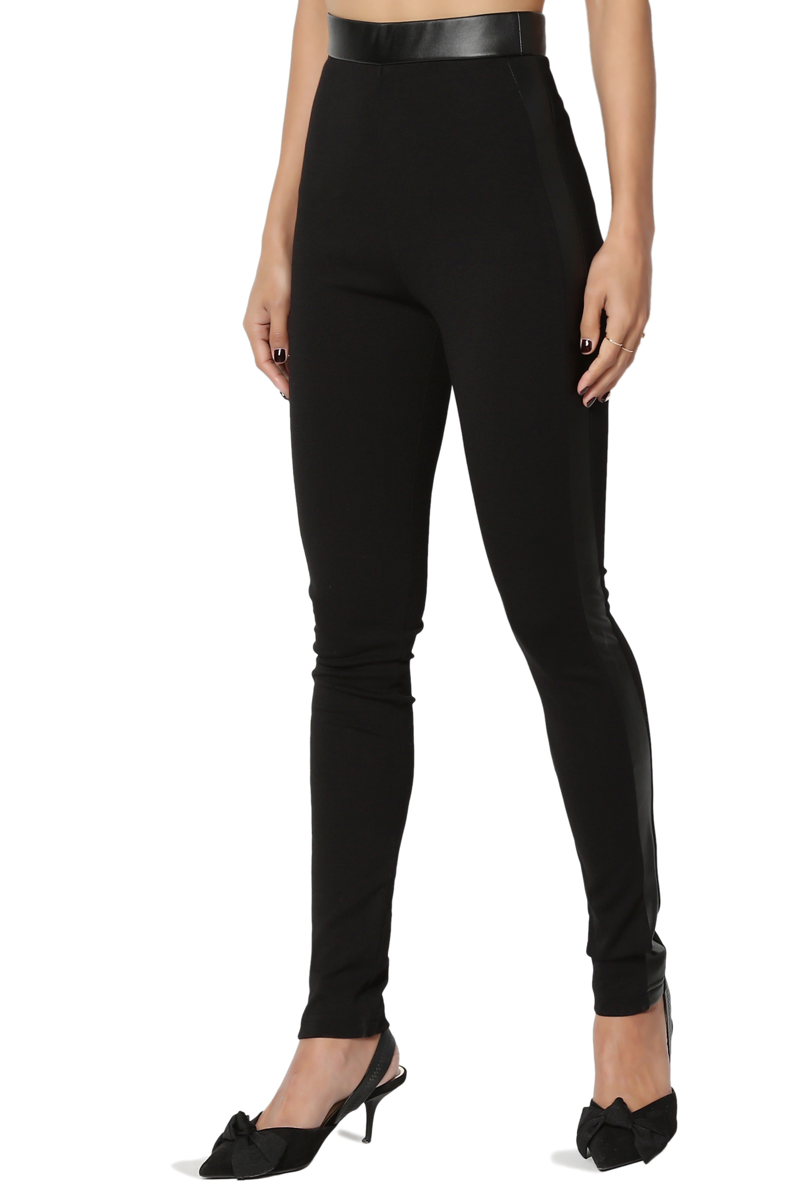 TheMogan Junior's Faux Leather Side High Waist Pull On Stretch Ponte Knit Skinny Pants