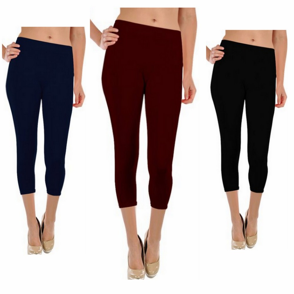 Womens Athletic Active Gym Yoga Capri Pants Tights Leggings Sweatpants - ONE SIZE