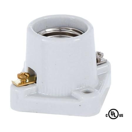 B&P Lamp® Square Base Porcelain Pony Cleat Edison Socket