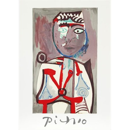 Pablo Picasso 14483 Personnage  44  Lithograph On Paper 29 In  X 22 In    Gray  44  Red  44  Blue  44  Brown
