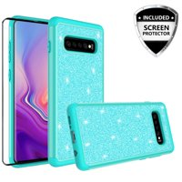 Samsung Galaxy S10 Plus/S10+ Case w/[TPU Screen Protector] Bling Shinny Glitter Silicone Shock Proof Hard Phone Case Cover - Teal