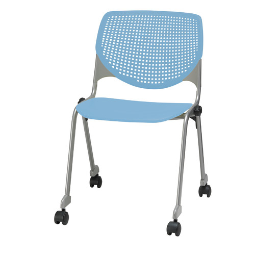 KFI Seating 2300 KOOL Series Stacking Poly Silver Steel Frame Armless Chair  With Perforated Back And