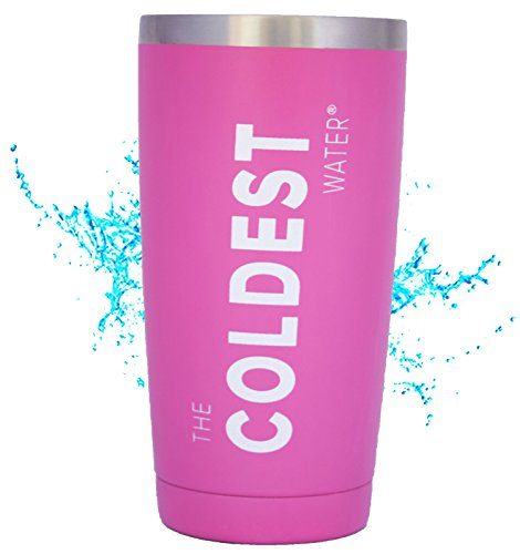 The Coldest Water Stainless Steel Tumbler Cup Hydro Pint 20 oz with Open Lid - Beverages Hot and Cold 3x Longer, Durable Double Wall Insulated Thermos Flask - Pink
