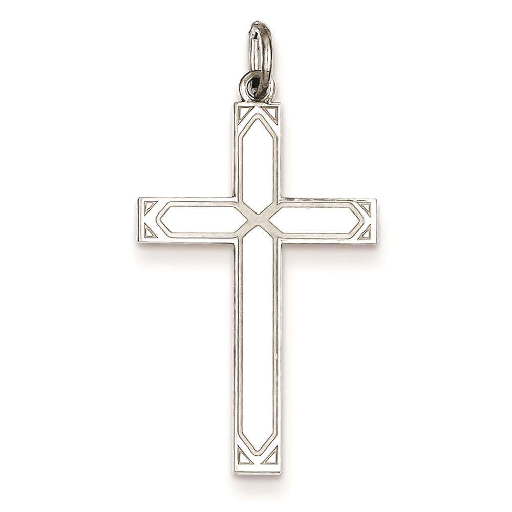 Laser Etched Solid Cross Charm Pendant 30mmx16mm 925 Sterling Silver