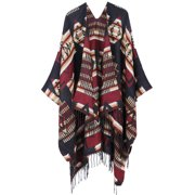 Cardigan Sweaters for Women Draped Fringed Poncho Wrap, Burgundy