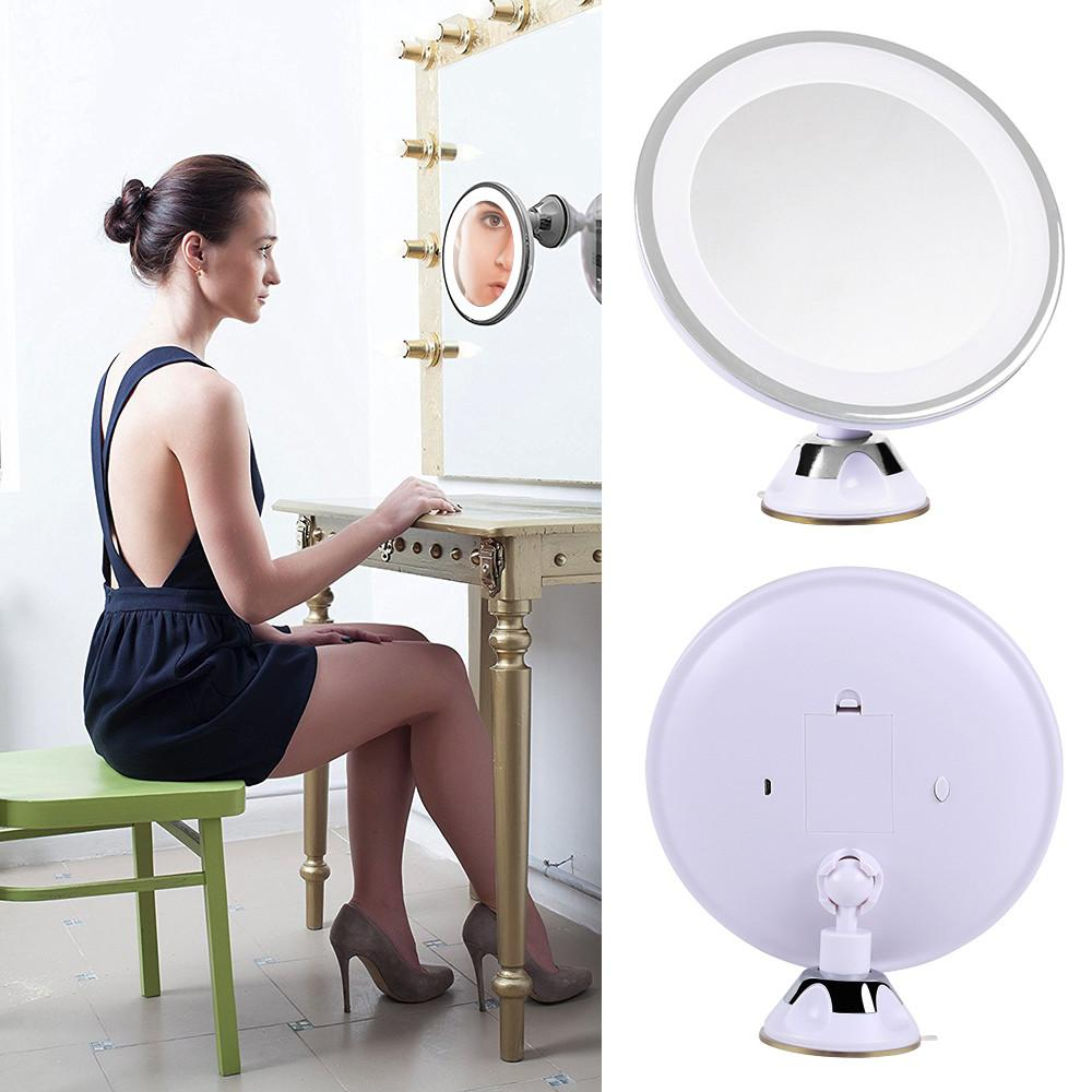 Topeakmart 360° LED Lighted 7X Magnifying Bathroom Makeup Mirror Illuminated Magnification