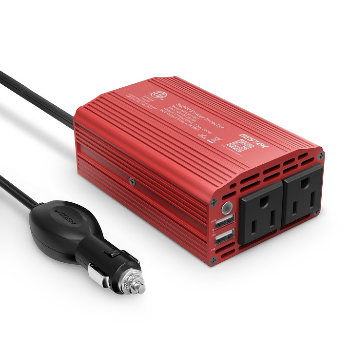 BESTEK 300W Power Inverter for Car DC 12V to 110V AC Car power Inverter with 3.1A Dual USB Car Adapter