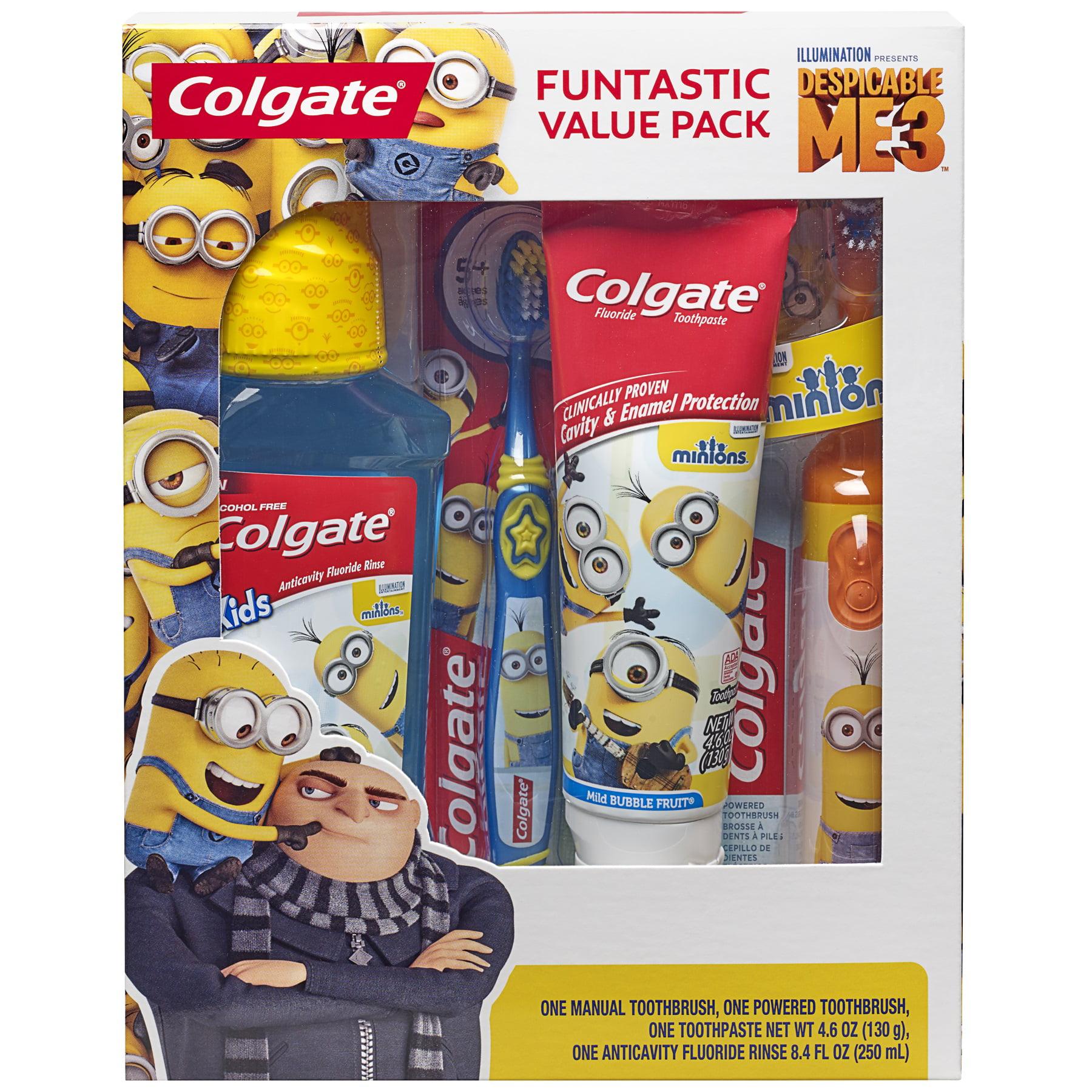 Colgate Kids Toothbrush, Toothpaste, Mouthwash Gift Set - Minions