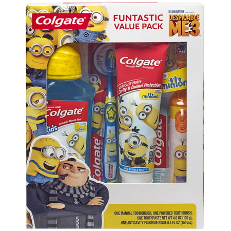 Colgate Kids Toothbrush, Toothpaste, Mouthwash Gift Set - Minions