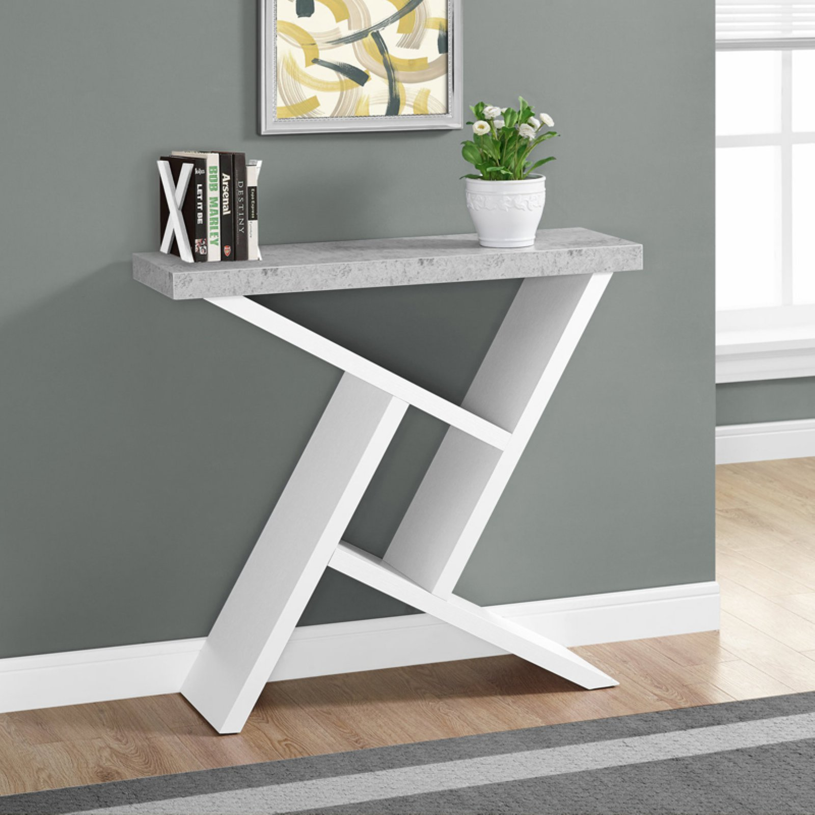 """ACCENT TABLE - 36""""L / WHITE / CEMENT-LOOK HALL CONSOLE"""