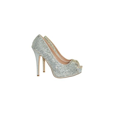 Darling31 by Blossom, Rhinestone Crystal Pearl Embelish Peep Toe High Heel Bridal Party Pump