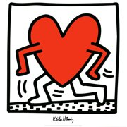 """KEITH HARING Untitled (1984) 27.5"""" x 27.5"""" Poster 1988 Pop Art Black & White, Red Heart"""