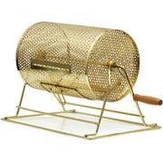 Topeakmart 8'' Raffle Ticket Drum Brass Plated Lottery Drum Casino Ticket Tumbler Gold