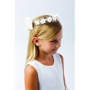 Girls Ivory Flower Rhinestone Pearl Embellished Stylish Special Occasion Crown