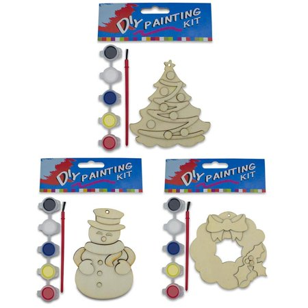"""4"""" Set of 3 Unpainted Blank Wooden Ornaments: Snowman, Wreath, Christmas Tree Cut Outs"""