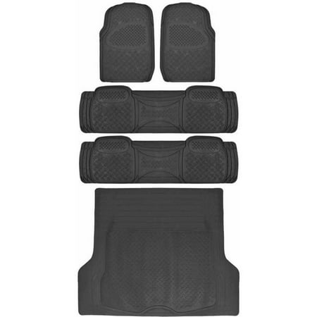 BDK Super Duty Rubber Floor Mats for Car SUV and Van 3 Rows with Cargo Mat, All Weather, Heavy Duty, 3 (Used Chevy Express Cargo Van)