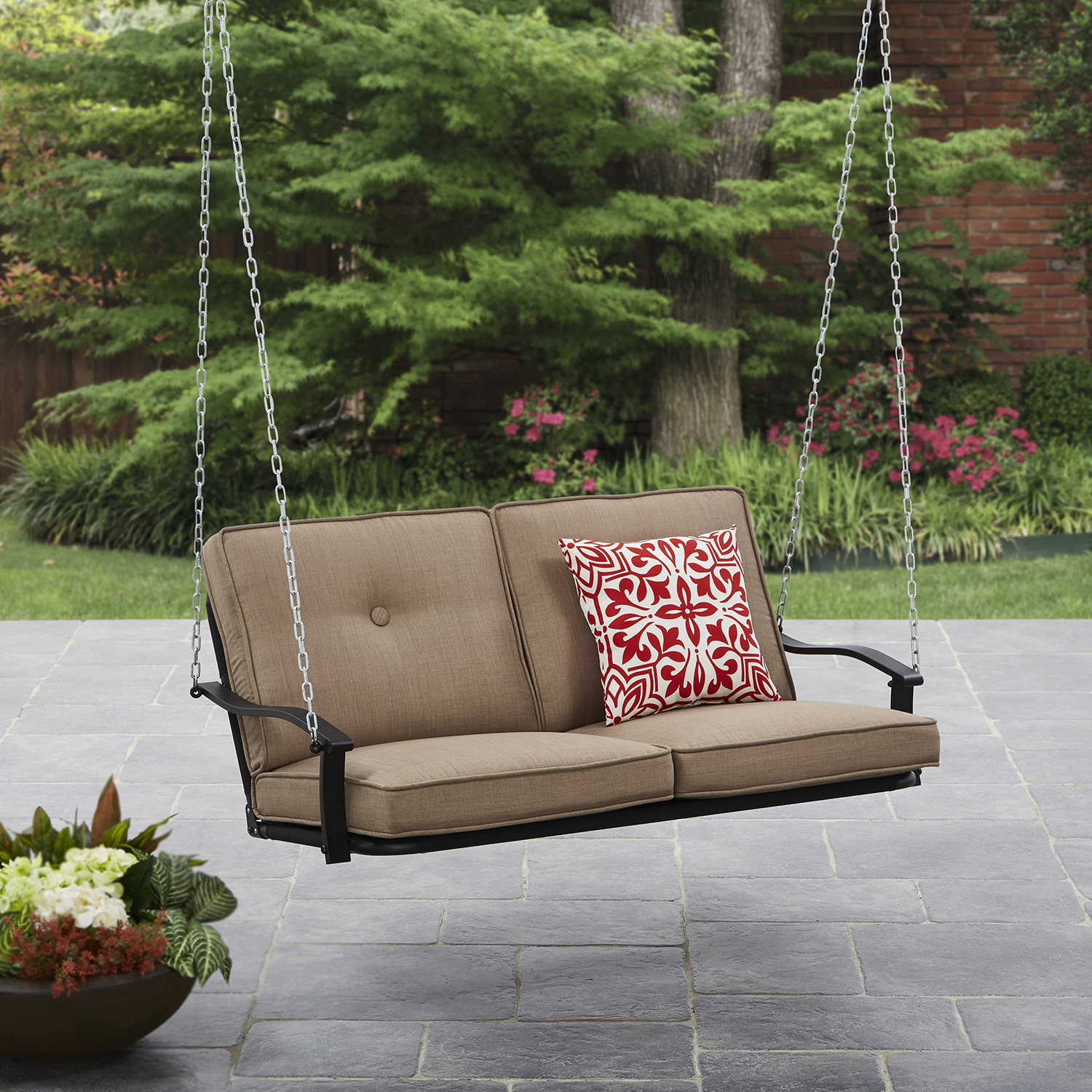 Mainstays Belden Park Outdoor Porch Swing with Cushion, Seats 2 by Courtyard Creations Inc