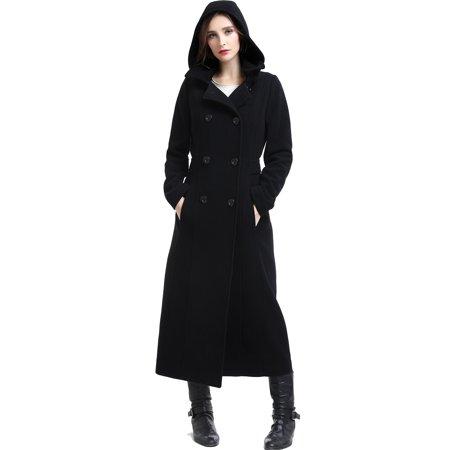 BGSD Womens Mariel Wool Blend Hooded Long Coat (Regular & Plus Size) Long Black Wool Coat