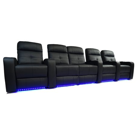 Valencia Verona Top Grain Leather LED Power Home Theatre Seating Row of Five Love Seat Left - 5 seat - image 6 de 6