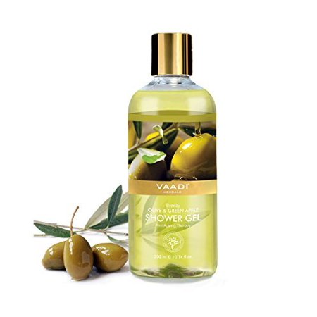 Vaadi Herbals Shower Gel, Breezy Olive and Green Apple, 300ml