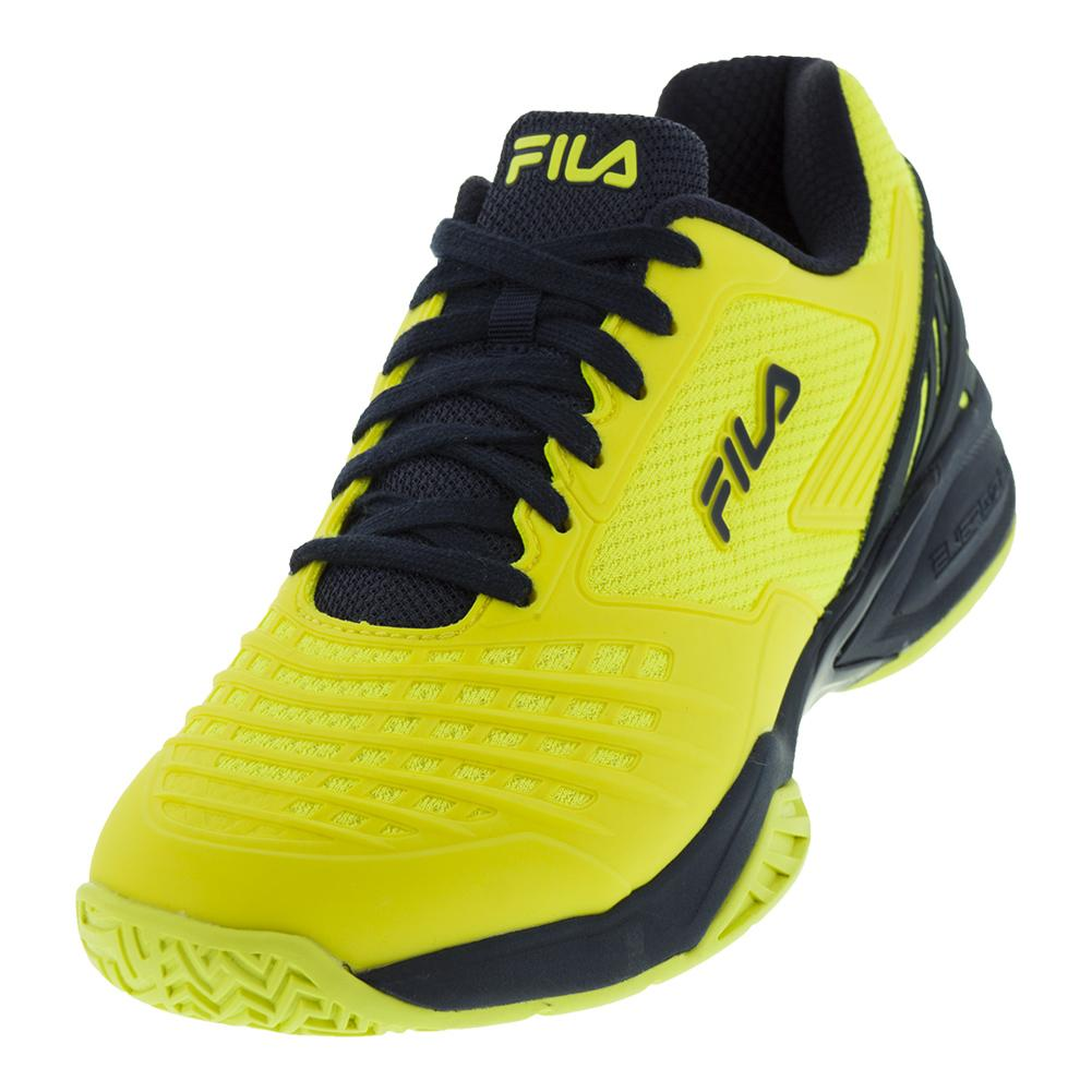 Men`s Axilus Energized Tennis Shoes Lemon Tonic and Fila Navy by Fila
