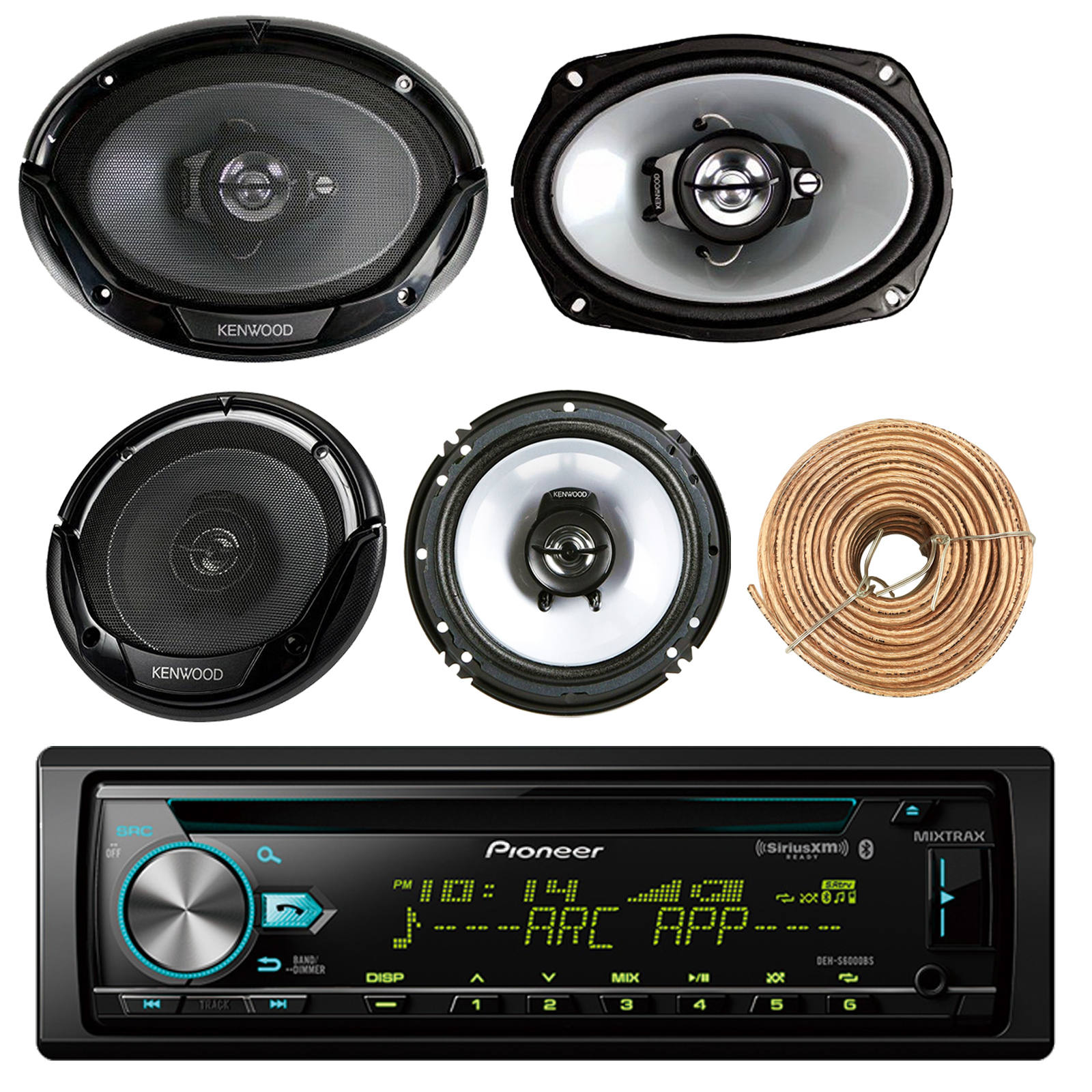 "Pioneer DEH-S6000BS Car CD Player Receiver Bluetooth USB AUX Radio - Bundle Combo With 2x Kenwood 6.5"" 2-Way Black Car Coaxial Speakers + 2x 6x9"" Inch 3-Way Speaker + Enrock 50 Foot 18g Speaker Wire"