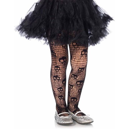 Leg Avenue Skull Striped Net Pantyhose Adult Halloween Accessory (Womens Skull Halloween Makeup)