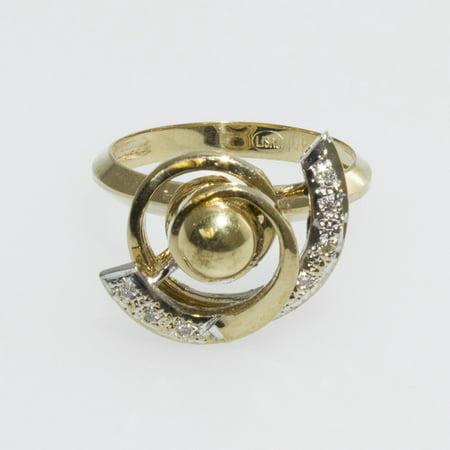 Two Swirls 14K Yellow Gold Motion Ring with Diamonds - FL865