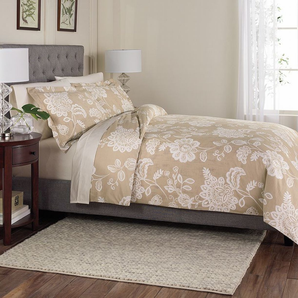 Sonoma Petaluma Tan Floral 3 Pc Cotton Duvet Cover Set Full Queen Size Bed