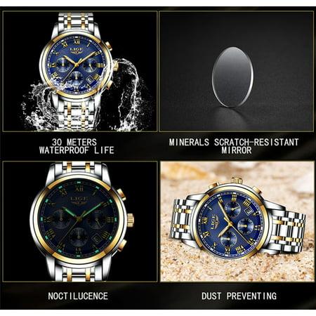 LIGE 9849 Quartz Man Watch Unique Fashion Sport Casual Brand Quartz Clock Luxury Stainless Steel Strap Waterproof Wrist Watch Relogio Masculino - image 1 of 7