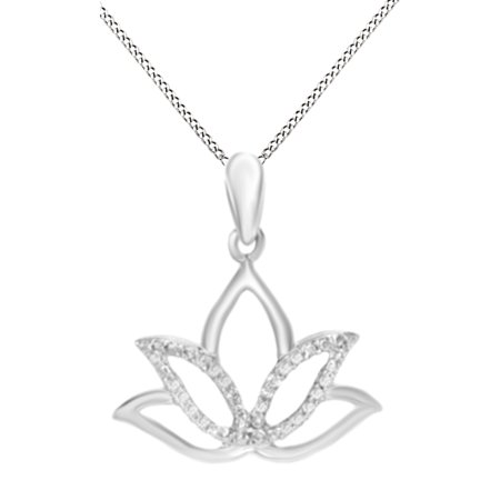 Natural Diamond Accent Outline Lotus Flower Pendant Necklace in 14k White Gold Over Sterling Silver