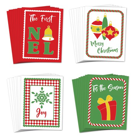 Christmas Greeting Cards Festive 24 Pack w Envelopes 4 Assorted Bright Holiday Colors Send Warm Wishes to Distant Family Close Friends Neighbors & Coworkers 24 Variety Boxed Set by Digibuddha