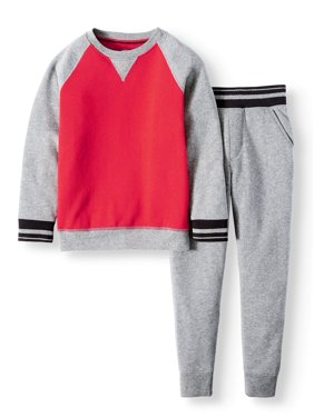 Athletic Works Crew Neck Fleece and Jogger 2 Piece Set (Little Boys, Big Boys & Husky)