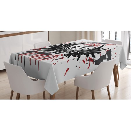 Halloween Tablecloth, Teddy Bones with Skull Face and Wings Dead Humor Funny Comic Terror Design, Rectangular Table Cover for Dining Room Kitchen, 52 X 70 Inches, Pearl Black Ruby, by Ambesonne](Bones And Skulls)