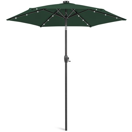 Image of Best Choice Products 7.5ft Outdoor Solar Patio Umbrella for Deck, Pool w/ Tilt, Crank, LED Lights - Green