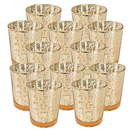 "Just Artifacts Mercury Glass Votive Candle Holder 2.75""H (12pcs, Speckled Gold) -Mercury Glass Votive Tealight Candle Holders for Weddings, Parties and Home Decor"