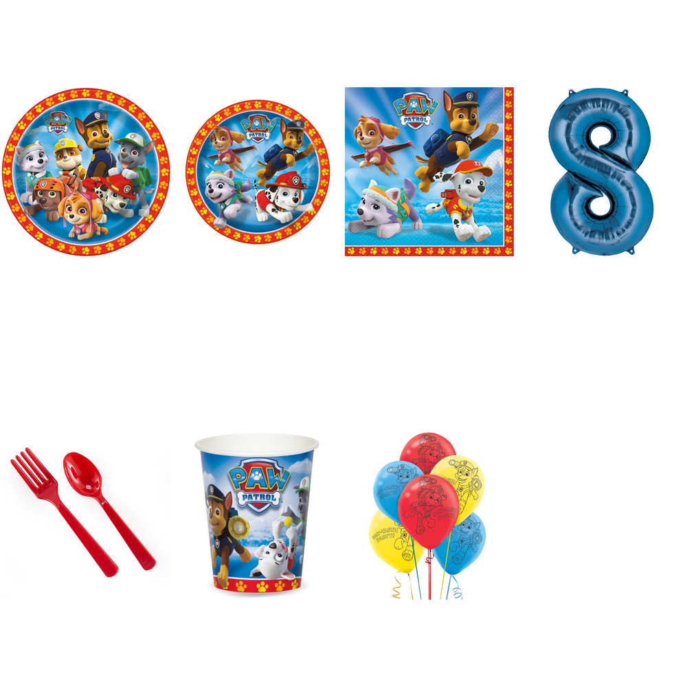 PAW PATROL PARTY SUPPLIES PARTY PACK FOR 32 WITH BLUE #8 BALLOON