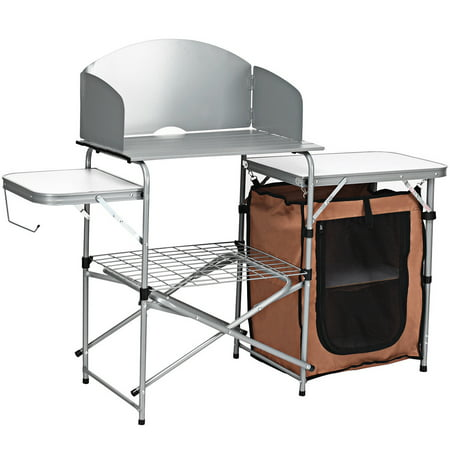 Costway Foldable Camping Table Outdoor BBQ Portable Grilling Stand w/Windscreen - Grill Stand