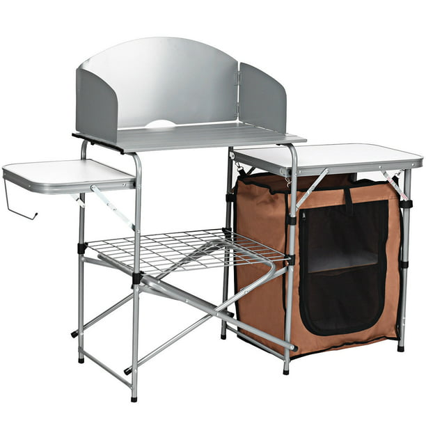 Costway Foldable Camping Table Outdoor BBQ Portable Grilling Stand w/Windscreen Bag