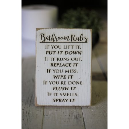 Engraved Wall Sign (Bathroom Rules Engraved Sign)