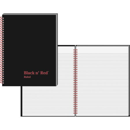 Letter Notebook - Black n' Red, JDKK67030, Ruled/ Perf. Wirebound Notebook - Letter, 1 Each