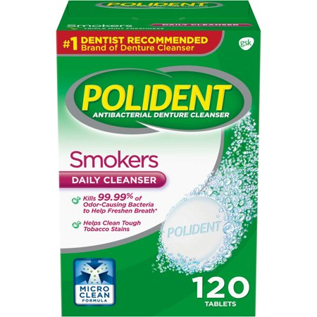 Antibacterial Denture Cleanser ((2 pack) Polident Smokers Antibacterial Denture Cleanser Effervescent Tablets, 120 count)