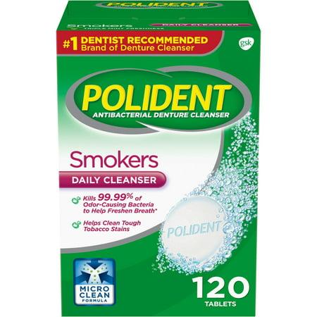 Steradent Denture ((2 pack) Polident Smokers Antibacterial Denture Cleanser Effervescent Tablets, 120)