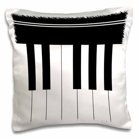 3dRose Piano keys - black and white keyboard musical design - pianist music player and musician gifts - Pillow Case, 16 by - Black And White Musical