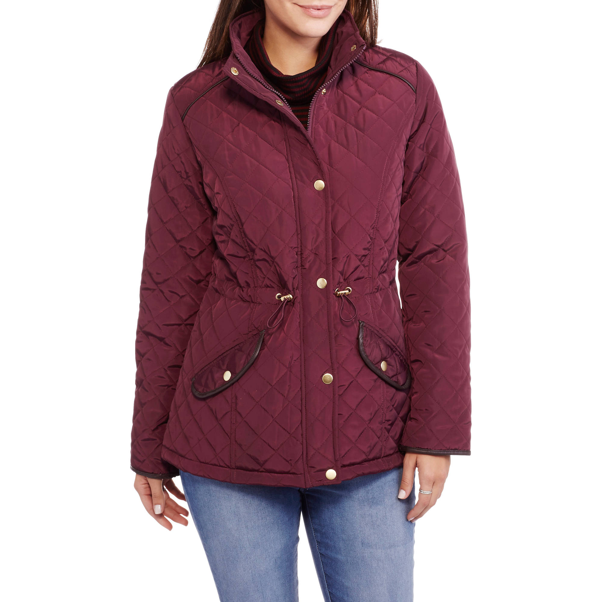 Maxwell Studio Women's Quilted Barn Jacket With Faux Leather Trim