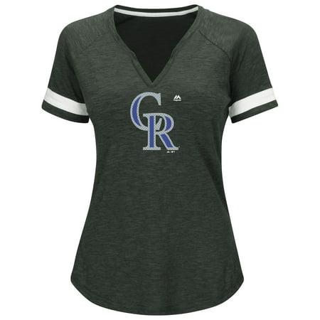 Colorado Rockies Majestic Women's Game Stopper Raglan T-Shirt - Heathered Charcoal - Heathered Raglan T-shirt