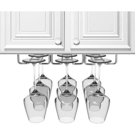 Sorbus Under Cabinet Wine Glass Rack and Stemware Holder, 3 Rows, Holds up to 9 of Your Most Delicate Glassware