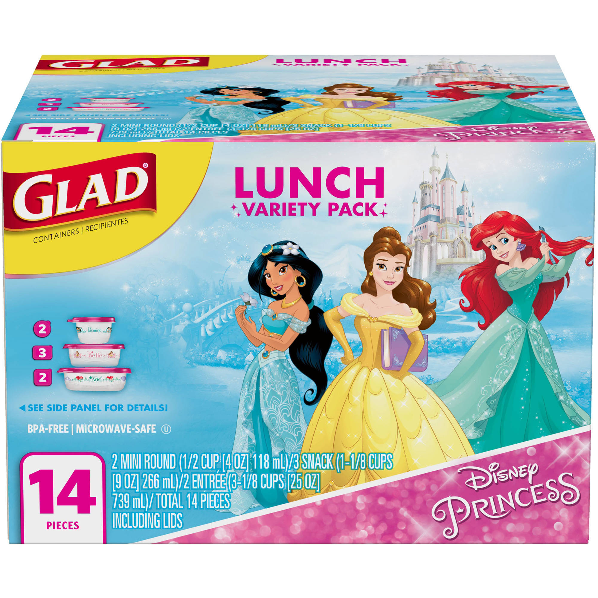 Glad Food Storage Containers, Lunch Variety Pack, Disney Princess, 14 ct