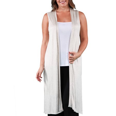 - Women's Plus Size Sleeveless Long Shrug